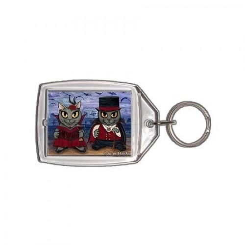 Keychain - Vampire Cat Couple