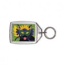 Keychain - Wild Mardi Gras Cat