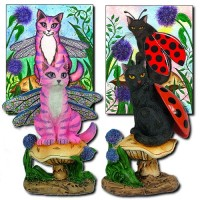 Figurines, Dea Dragonfly Fairy Cat Logan ladybug Fairy Cat Resin Figurines (Past Licensee)