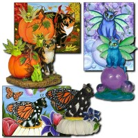Figurines Monarch Fairy Cat, Bubble Fairy Cat Calico\'s Mystical Pumpkin Resin Figurines (Past Licensee)
