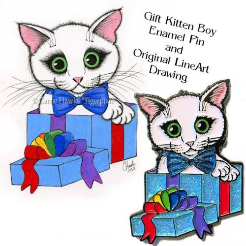 Enamel Pin and Original Set - Gift Kitten Boy