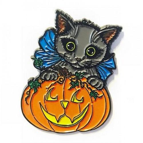 Enamel Pin - Halloween Black Kitty