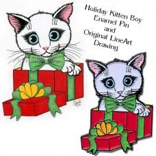 Enamel Pin and Original Set - Holiday Kitten Boy