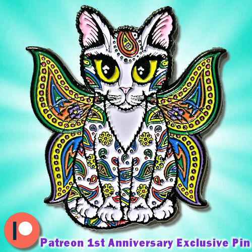 Enamel Pin - Rainbow Paisley Fairy Cat - Sold Out