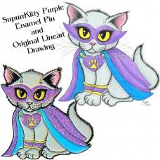 Enamel Pin and Original Set - SupurrKitty Purple