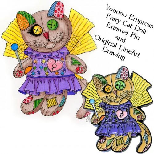 Enamel Pin and Original Set - Voodoo Empress Fairy Cat Doll
