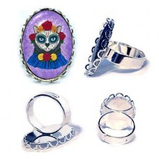 Ring - Day of the Dead Cat Gal