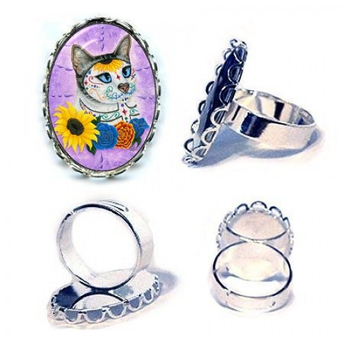 Ring - Day of the Dead Cat Sunflowers