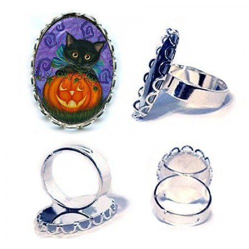Ring - Halloween Black Kitty