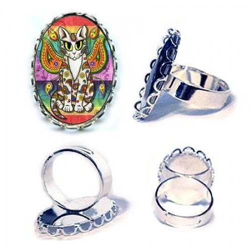 Ring - Rainbow Paisley Fairy Cat